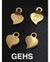 Gold-plated heart earring bails, small