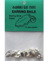 Silver-plated leaf earring bails- small- 12 pairs